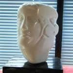 Oggi l'uomo domani chissa' - 2006 - cm 39x30x19 - marble on rotating pivot - peter gazzola