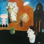 Pittori in un futuro incerto - 2007 -  cm 100x100 - oil on canvas - peter gazzola